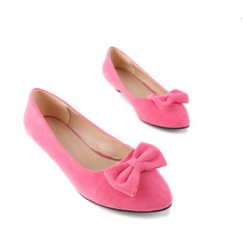 WeiPoot Heel Solid Toe Pumps Womens with Low B Closed Bowknot M Frosted Pink 7 US PU Pointed ATqpAr