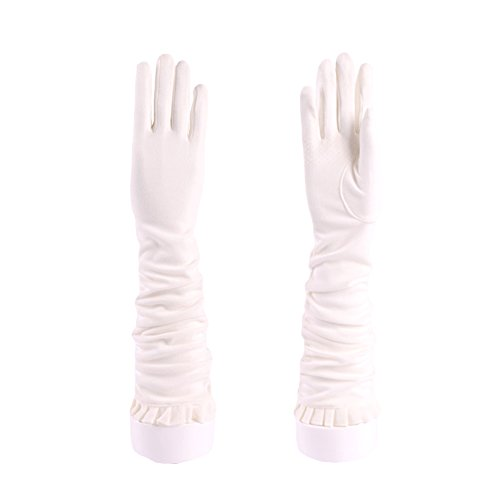 White Plus Gloves (JAMOR Women Long Sleeve Soft Cotton Sun Ultraviolet Protection Gloves Breathable Comfortable Soft Non-Slip Screen Touchable Gloves Idea for Wedding Outdoor Driving Party)