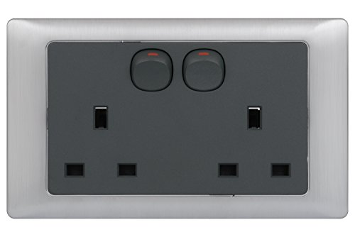 (Schneider Electric Rocca GGBGRME3020R 13 A Double Switched Single Pole Socket Outlet with Silver Grey Interior - Mercury)