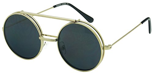 Round Circular Django Flip-Up Steampunk Inspired Metal Two in One Sunglasses (Gold | Smoke Lens, - Flip Round Up Sunglasses