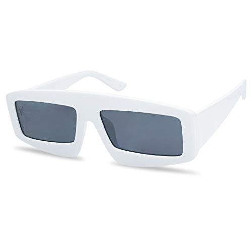 Futuristic Chunky Rectangular Sleek Sunglasses Retro Unisex Style Assorted Color Glasses (White Frame | Black)]()