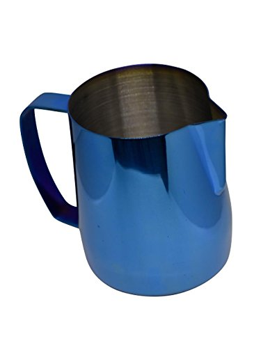 - Latte Art | Stainless Steel Milk Frothing Pitcher Cobalt Blue 20 oz Titanium Mirror Finish