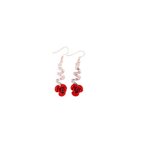 Red Simulated Coral Carved Rose Flower Earrings