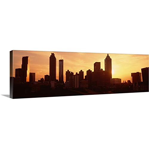 Solid-Faced Canvas Print Wall Art Print Entitled Sunset Skyline Atlanta GA 60