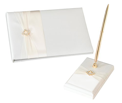 (Lillian Rose Diamond Satin Guest Book & Pen Set, Ivory)