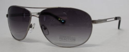 Kenneth Cole Reaction Sunglass Gunmetal Aviator, Smoke Gradient Lens KC1069 - Mens Sunglasses Kenneth Cole
