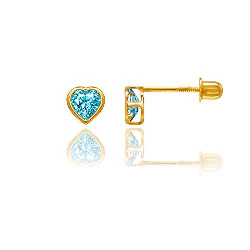 Heart Topaz Baby Ring - 14kt Solid Gold Kids Heart Stud Screwback Earrings - Blue Topaz