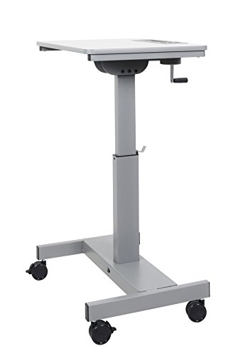 Offex of-Student-C Student Sit/Stand Desk with Height Adjustable Crank Handle - Light Gray/Medium Gray