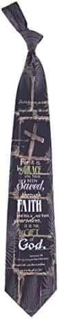 Men's Saved Through Faith Ephesians 2:8 Religious Necktie Tie Neckwear