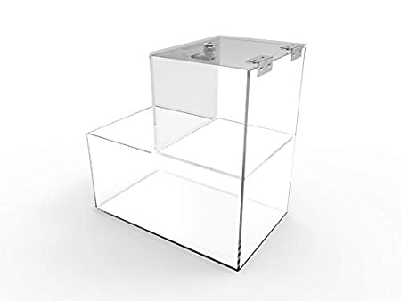 FixtureDisplays 6x10x10 Locking Acrylic Fundraising Donation Coin Box Container with Cam Lock Product Compartment 15944-NF
