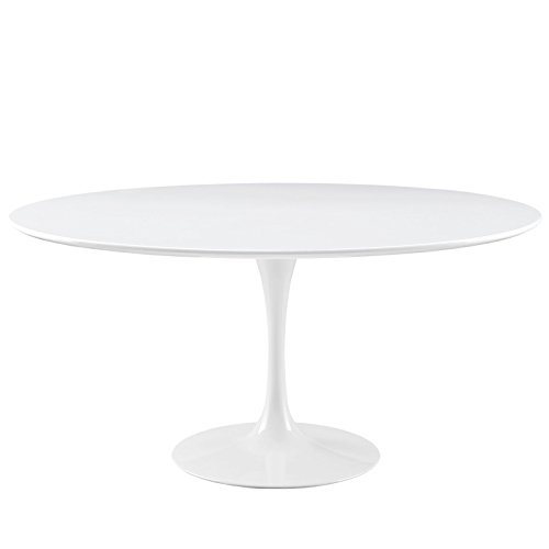 Modway Lippa 60 Wood Top Dining Table in White