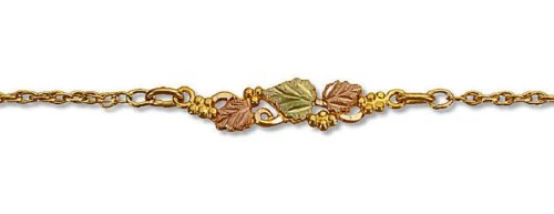 Landstroms 10k Black Hills Gold Ankle Bracelet with Leaves and Grapes - G L07266A