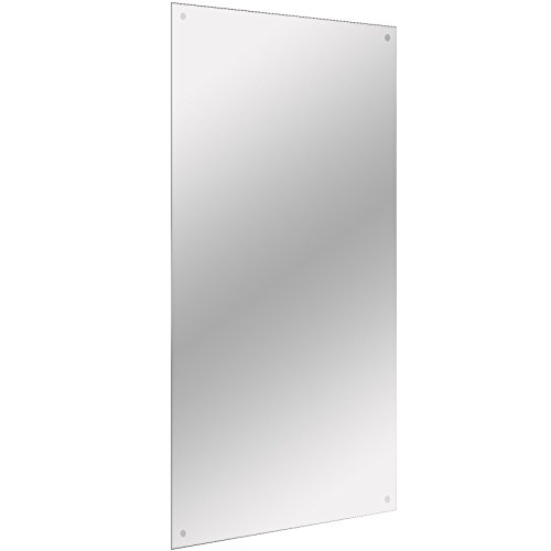 450x600mm Frameless Rectangle Mirror | Includes Chrome Cap Hanging Fixings | Pre-Drilled -