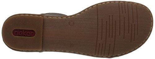 Rieker 64259 - sandalias abiertas de material sintético mujer negro - Schwarz (schwarz/beige/kastanie / 00)