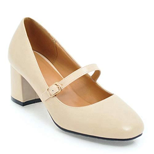 - Women's PU Leather Ankle Strap Mary Janes Block Mid Heel Pumps Shoes Slip-On Causal Dress Shoe Beige