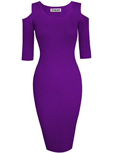 (TAM WARE Womens Stylish Cut Out Shoulder Bodycon Knit Midi Dress TWCWD121-D160-ULTRAVIOLET-US S)