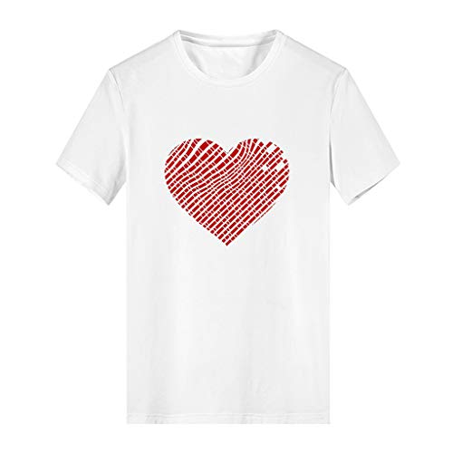 iPOGP Women's White Tops Cotton Round Neck Print Heart Summer Sweat-Absorbent and Deodorant T-Shirt Simple Ladies Girl Blouse (White,l) ()