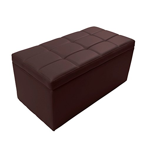 Magshion 2 Sizes-Unfold Leather Storage Ottoman Bench Footstool Cocktail Seat Coffee End Table (Rectangle, ()