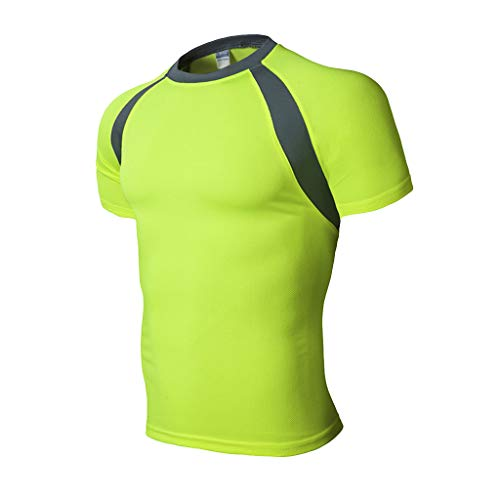 TANLANG Mens Short Sleeve T-Shirt Round Neck Mesh Lining Jogging Workout Fitness Casual Summer Thin Pullover Basic Tops Green