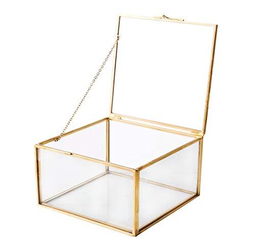 Utopz Golden Glass Jewelry Keepsake Square Box Home Decor Display Vintage Glass Jewelry Organizer, Decorative Boxes, Brass & Clear Glass, 5x5x3 (Jewelry Glass Display Box)