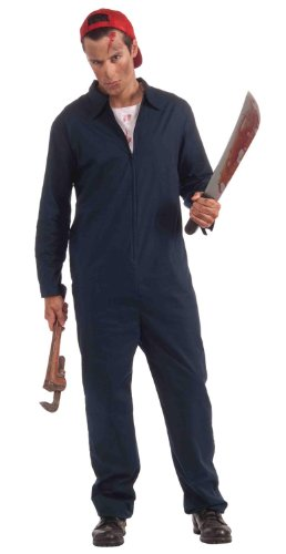 [Forum Novelties Men's Deranged Mechanic Costume, Navy, One Size] (Blue Jumpsuit Costumes)