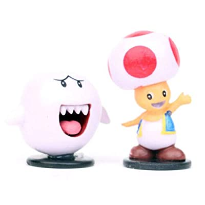 ARMIN 10pcs Unique Durable Cute Super Mario Bros Figure Luigi Toad Yoshi Wario Peach Cake Topper Party Toy Charming: Home & Kitchen