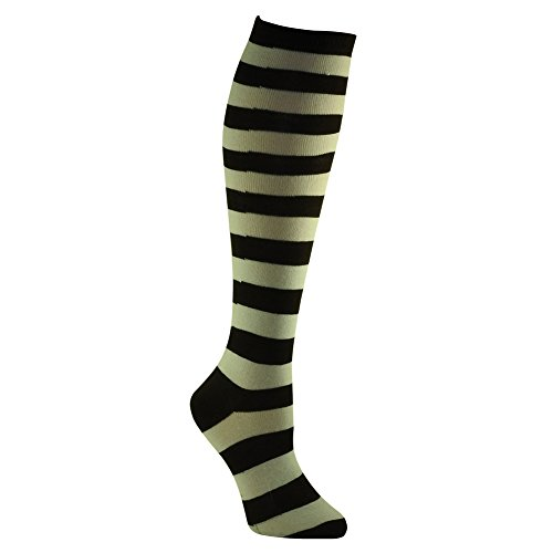 RSG+Hosiery+Knee+High+Socks+For+Teens+%26+Women+Solids+%26+Patterns+%28Brown+%26+White+Stripe%29