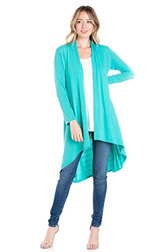 Long Mint (Modern Kiwi Solid Essential Long Cascading Cardigan Mint Large)
