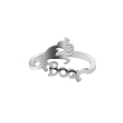- Dolland Women's Creative Band Ring Cool Halloween Party Jewelry Open Adjustable Finger Ring,Silver Screaming Ghost