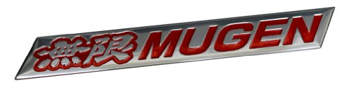 Mugen Embossed RED on Highly Polished Silver Real Aluminum Auto Emblem Badge Nameplate for Honda Acura Civic Fit Prelude Integra RSX Accord Si RSX GSR TSX CL TL GSR LS EK9 EK EG Type-R S JDM other models