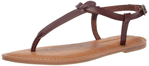 Amazon Essentials Women's Casual Thong with Ankle Strap Sandal, Brown, 11 B -