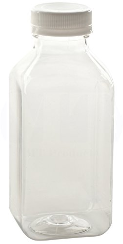 12 Oz. Empty Clear PET Plastic Juice Bottles with Tamper Evident Caps by MT Products - Set of 12 Bottles and 12 Caps
