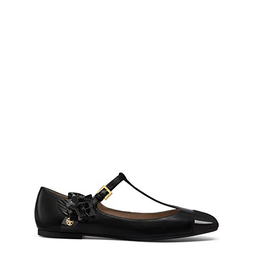 Tory Burch Blossom T Sangle Appartements - Noir Taille 7