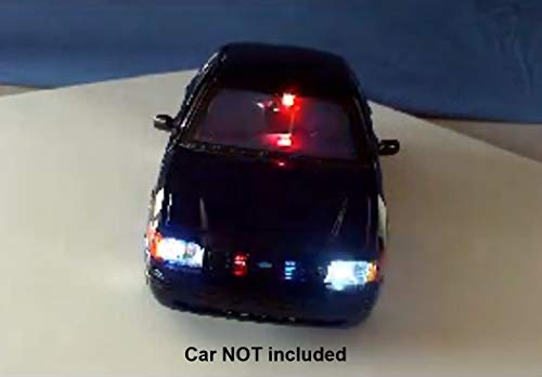 Diecast Police Led Lights and Siren Kit - Modify Your Own Model or R/C Car - 19 Pre-Wired Super Bright LEDs - Police Siren with 4 Real Sounds - Runs on a 9 Volt Battery ()