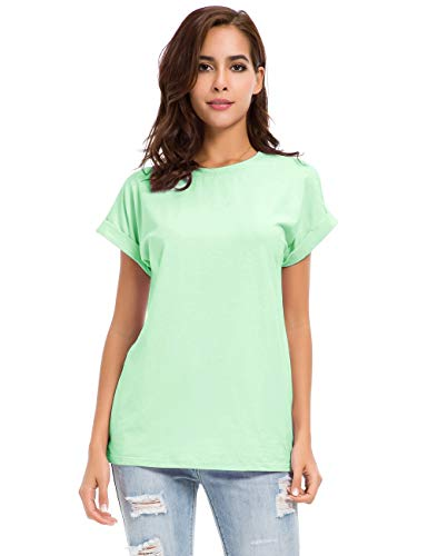 - Womens Short Sleeve Loose Fitting T Shirts Cotton Casual Tops Light Green