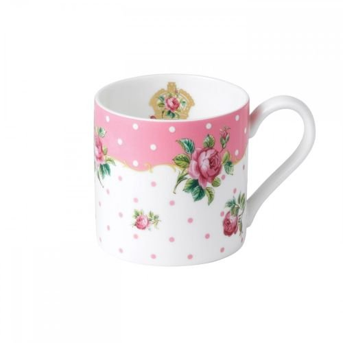 Floral Collection Pink Mug - Royal Albert China New Country Roses Cheeky Modern Mug, White/Pink
