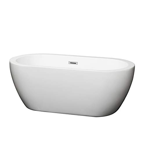 Wyndham Collection Soho 60 inch Freestanding Bathtub for Bathroom in White with Polished Chrome Drain and Overflow Trim