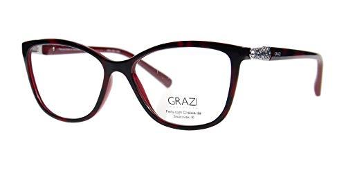 Óculos de Grau Grazi Massafera GZ3022B E103 Tartaruga Vermelho Com Cristais  Da SWAROVSKI Lente Tam 53 f2e87ff131