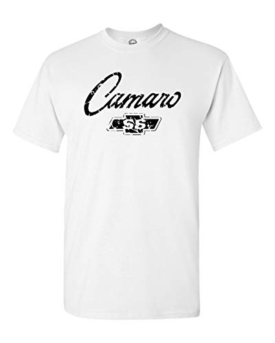 Chevy Camaro SS Classic American Muscle Car T Shirt Adult Sizes S-3X Various (L, White) Car White Adult T-shirt