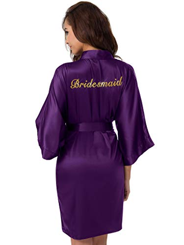 SIORO Bridesmaid Satin Robes Womens Personalized Silk Bathrobe Wedding Party Short Kimono Dressing Gown Monogrammed,Eggplant S