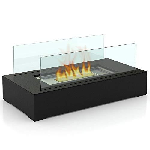 Bio Ethanol Tabletop Fireplace,Fuel Ventless Heater/Burner,Indoor/Outdoor Fire Pit,Black (Fires Outdoor Bioethanol)