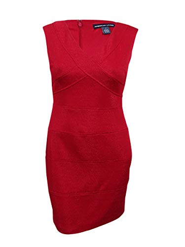 American Living Women's Jacquard Sheath Dress (14, Red)