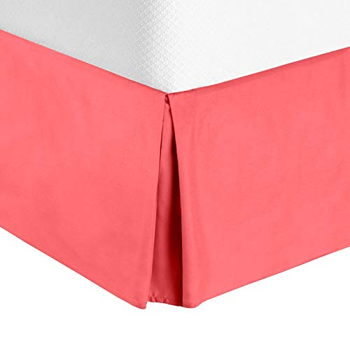 "Nestl Bedding Pleated Bed Skirt - Luxury Microfiber Dust Ruffle, 14"" Tailored Drop, Queen, Coral Pink"