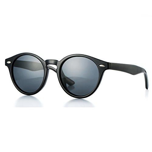 AZORB Retro Unisex Polarized Round Sunglasses Horn Rimmed UV400 Protection (Black/Black, - Round Retro Sunglasses