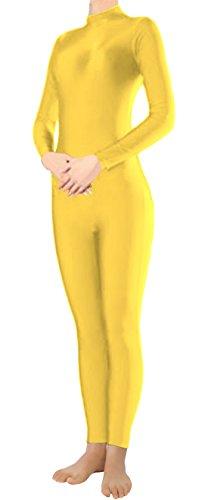 Marvoll Lycra Long Sleeve Unitard Bodysuit Dancewear for Kids and Adults (Medium, Yellow) (Superman Leotard)