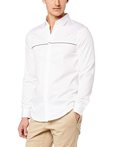 Armani Dress Shirts - A|X Armani Exchange Men's Plain Striped Button Down, White, XL