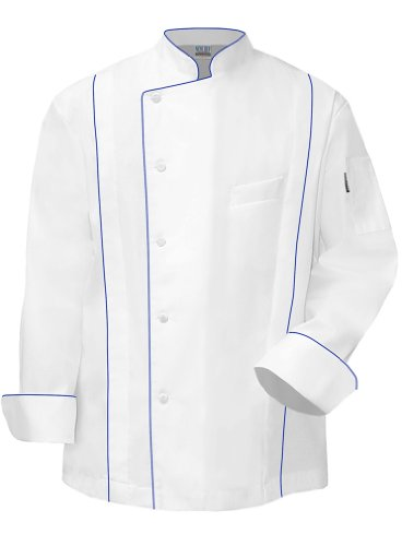 Newchef Fashion Master Chef Coat White with Royal Blue Trim L White by Newchef Fashion