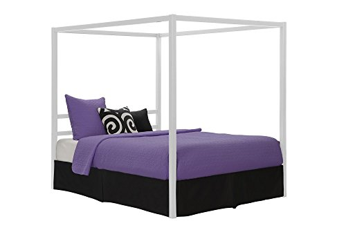 Dhp Modern Canopy Bed Frame Classic Design Queen Size White