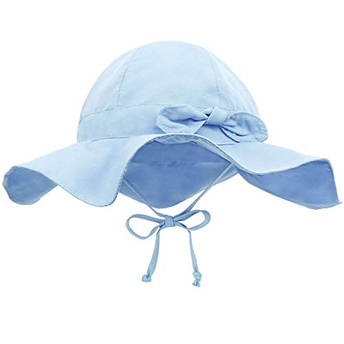 - Tantisy ♣↭♣ Toddler Baby Girls Big Wave Wide Brim SPF 50+ UV Protection Hat/Breathable Visors/Cute Candy Color Light Blue