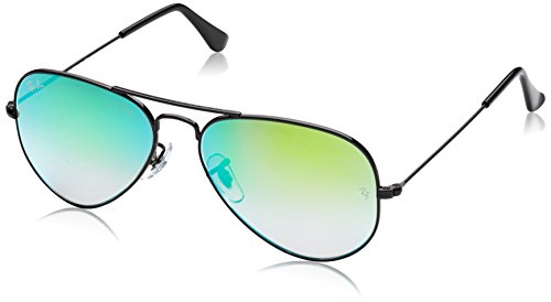 Ray-Ban RB3025 Aviator Flash Mirrored Sunglasses, Shiny Black/Green Gradient Flash, 55 mm